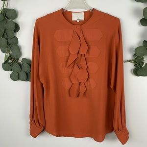 3.1 Phillip Lim Ruffle Silk Long Sleeve Blouse  4